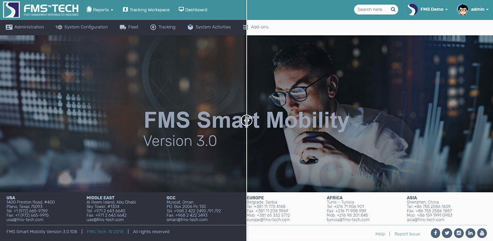 FMS Smart Mobility Software Change Theme from dark to light Feature