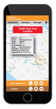 Smart School Bus System App Location Screen