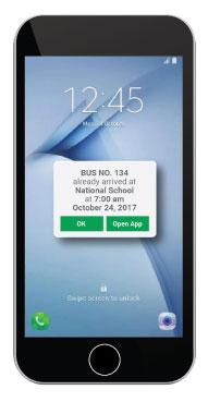 Smart School Bus System App Notification Screen